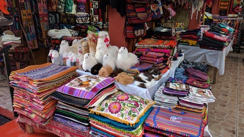 One of many identical souvenir stalls in Aguas Calientes