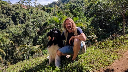 Our host, Luca, and his Newfoundland, Tato