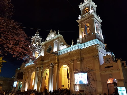 Salta's Cathedral by night