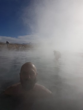 Soaking in a hot spring