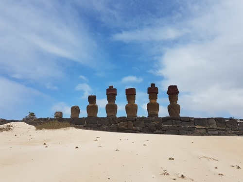 The backs of these moai