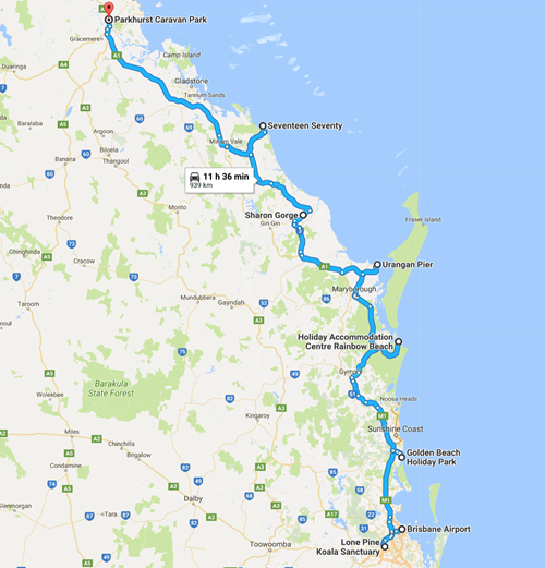 The path from Brisbane to Rockhampton