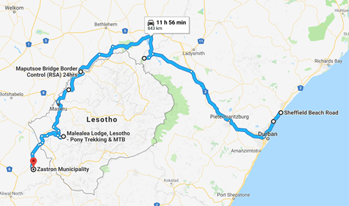 Our route from Durban to Lesotho and out the other side