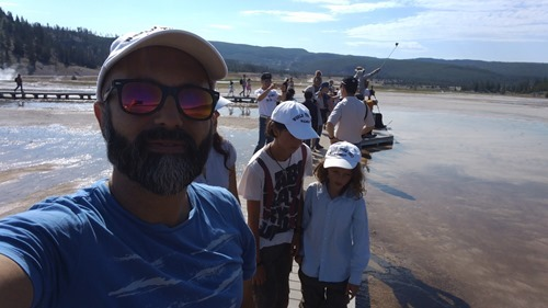 On the boardwalk at the Grand Prismatic spring in Yellowstone