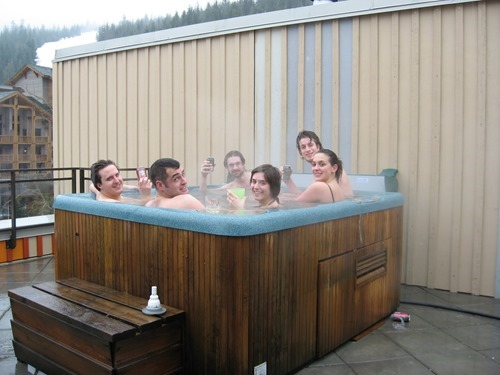 Autodesk Neuchatel employees kicking back in our hot tub