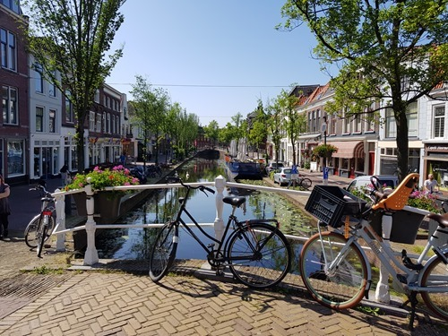 Bikes parked on the canal