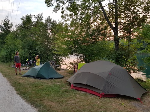 Our tents by the Aare