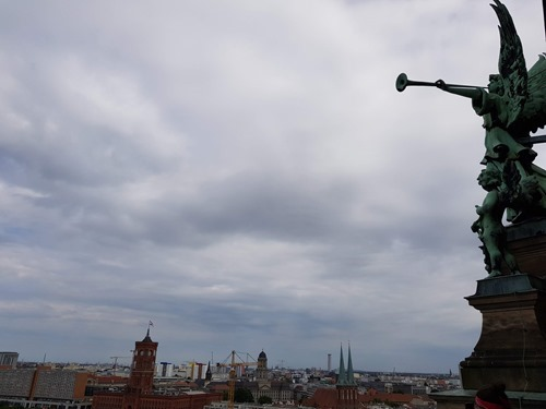 Angels watching the Berlin skyline