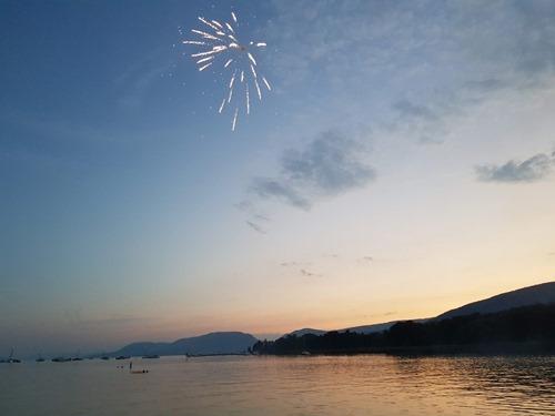 Firework at dusk