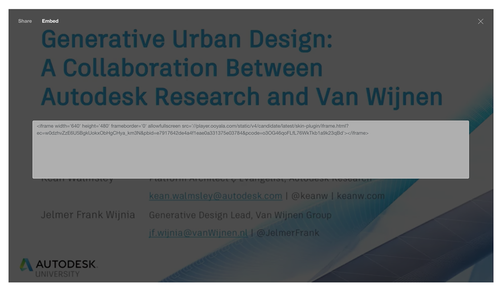 How to embed videos from the new Autodesk University website