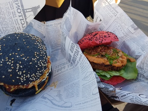 Colourful vegan burgers