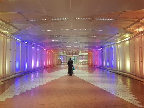 Someone walking through Munich Airport