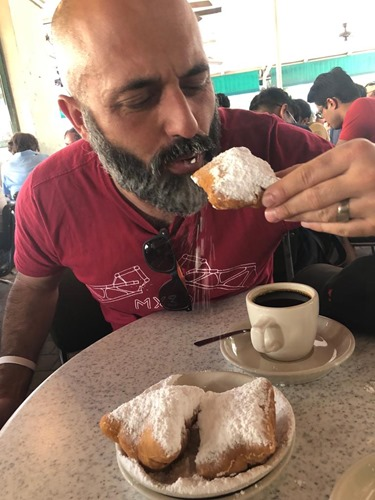 Eating beignets at Café du Monde