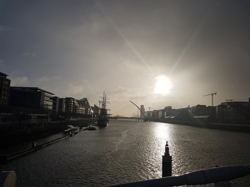 Morning walk across the River Liffey