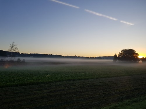 The train across to Bern with morning mist