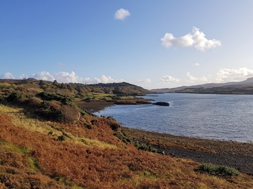 The view across to Dunvegan Castle