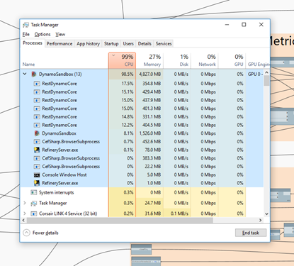 Refinery - Task Manager CPU - serial