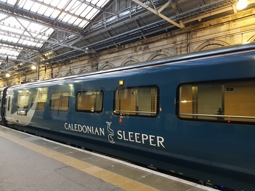 Sleeper train arriving in Edinburgh