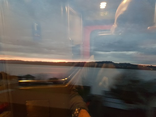 Dawn across the lake from the train