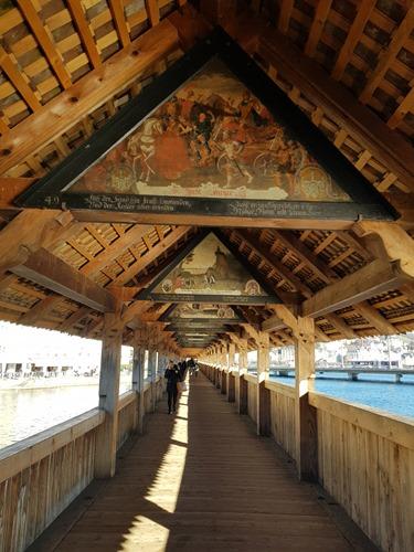 View along the inside of the Chapel Bridge