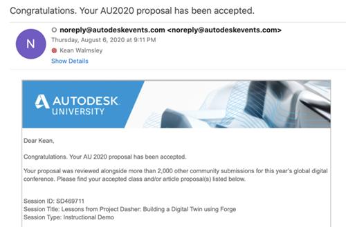 AU 2020 acceptance