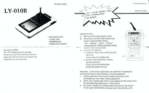LY-010B joy-stick instructions