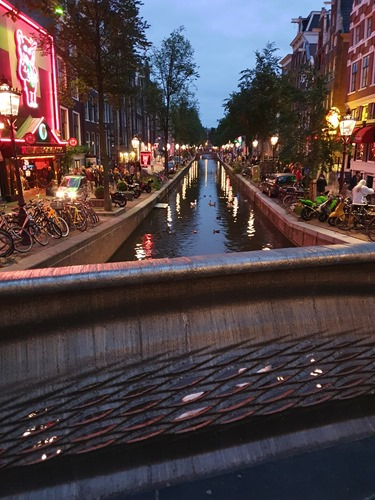View down the canal by night