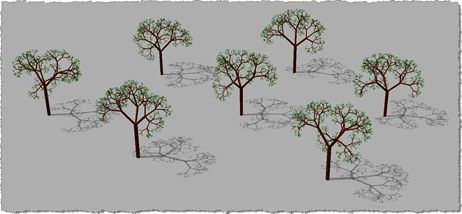 3D trees - 3D view with shadows