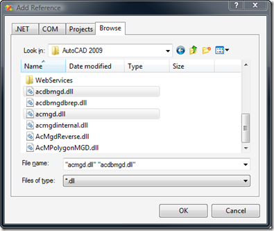 Add project references to AutoCAD's managed assemblies