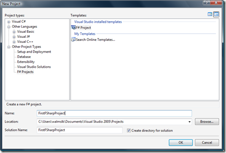 New F# project - VS 2005