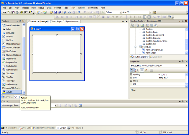 Embedding AutoCAD 2009 in a standalone dialog - Through the Interface