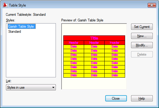 Creating a custom AutoCAD table style using  NET - Through