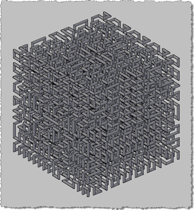 Hilbert Cube (Level 4) - Path used for extrusion