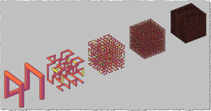 Hilbert Cubes (Levels 1 to 5) - Full 3D