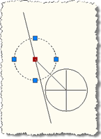 Move circle from line