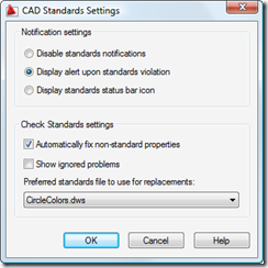 Standards settings dialog