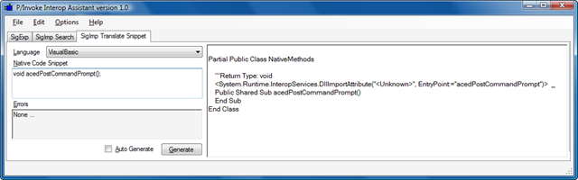Using the P/Invoke Interop Assistant to help call ObjectARX